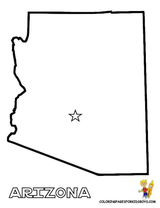 Arizona state template map of usa states 01 alabama for Arizona state flag coloring page