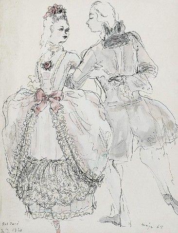 Maja BEREZOWSKA (1898-1978)  Bal pare, 1965 tusz, akwarela, papier; 29 x 22,5 cm (w świetle oprawy);