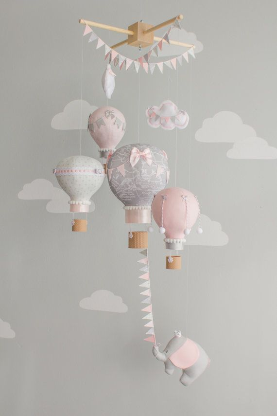 Hete lucht ballon Baby Mobile olifant Baby door sunshineandvodka