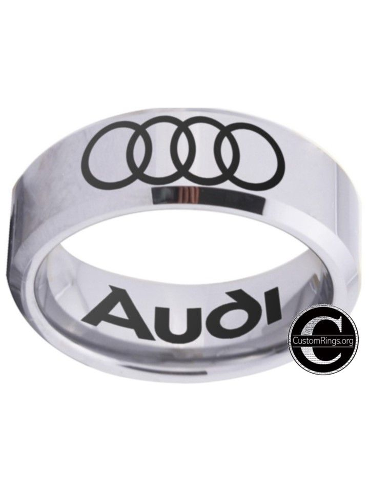 Audi Ring silver and black logo ring 8mm Tungsten Ring, sizes 4 - 17