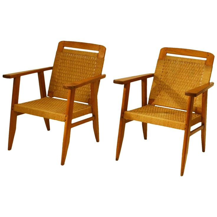 Pair of Oak and Rush Lounge Chairs by Rene Gabriel | 1stdibs.com