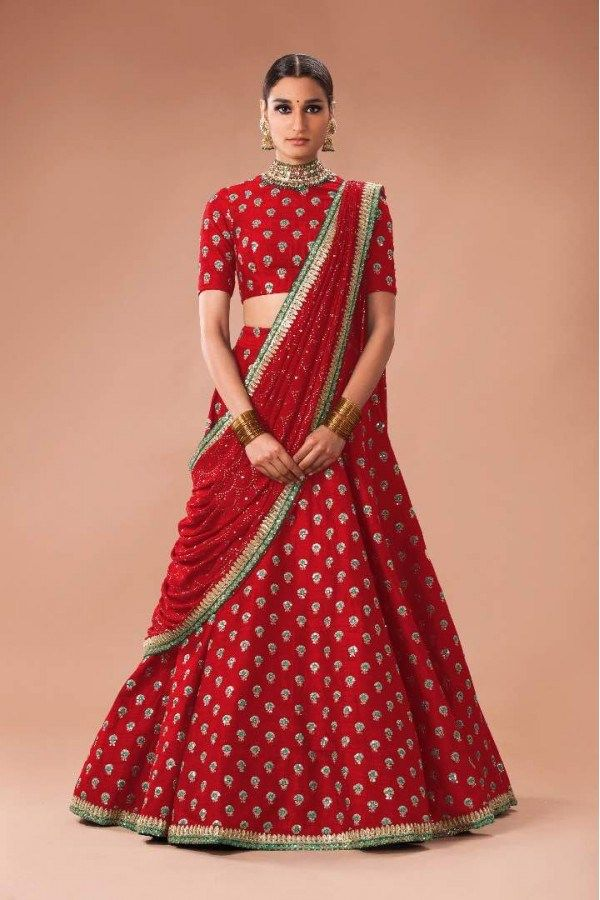 9caad939ee8eb Beautiful red green Sabyasachi wedding lehenga on budget. Click on picture  to see Sabyasachi Lehenga cost. #Frugal2Fab