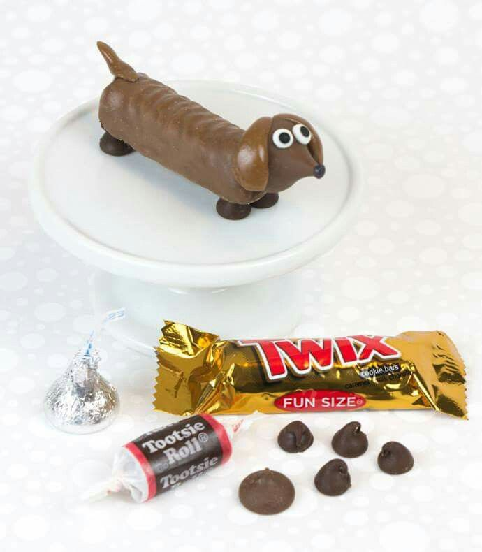 Doxie made from twix, tootsie roll, hershey kiss and mini chocolate chips :)