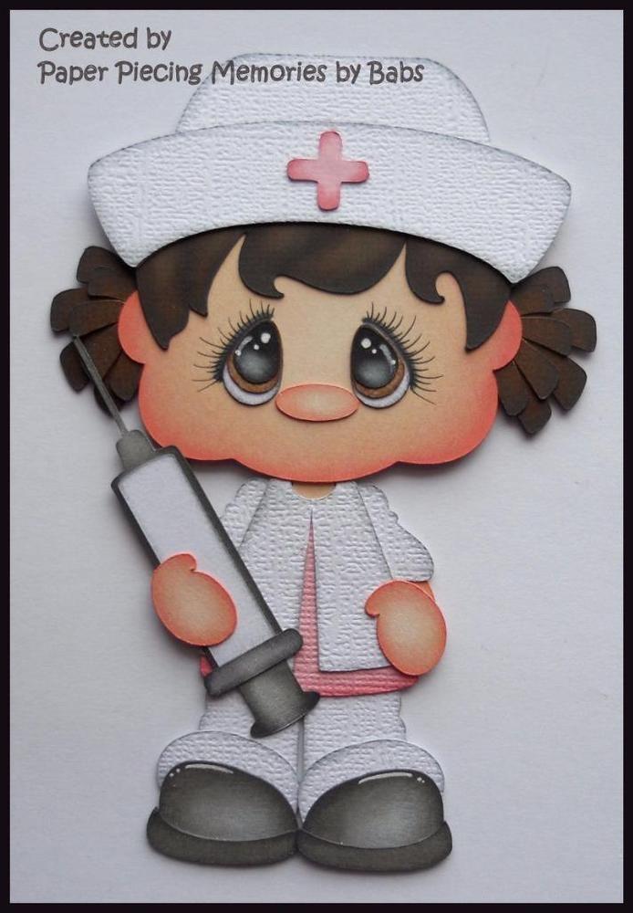 Nurse Dark Hair Premade Paper Piecing Die Cut for Scrapbook Page byBabs