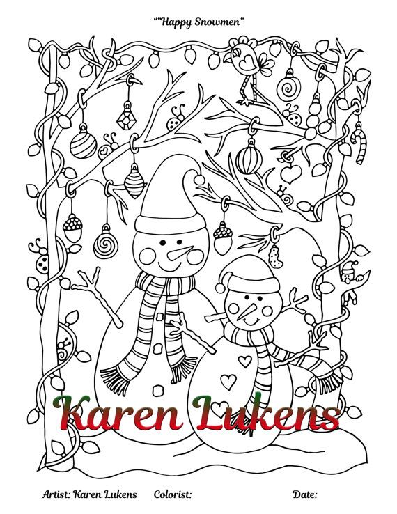 Christmas Pack 1 5 Adult Coloring Book Pages Printable Instant Download Karen
