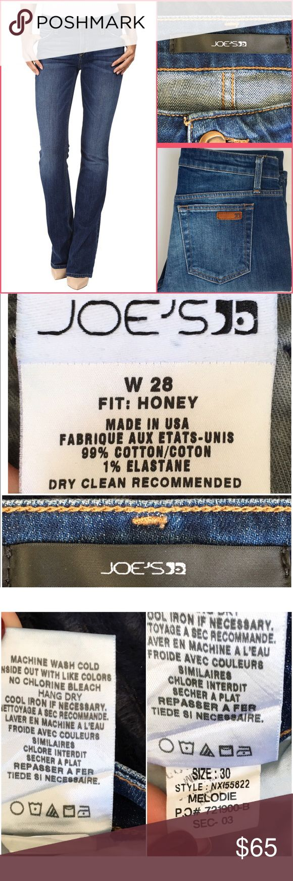 Joe's Jeans Honey Bootcut Flattering mid-rise jean fits skinny through hip and thigh then goes to bootcut. Five pocket style with leather embossed locker tag on back pocket. 99% cotton, 1% elastase. Awesome jeans in excellent condition! 101301655 Joe's Jeans Jeans Boot Cut