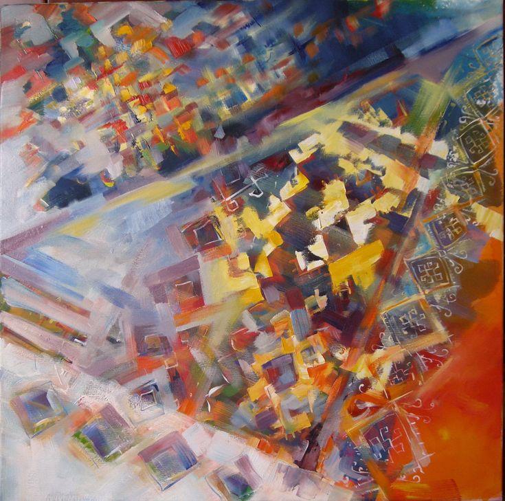 Towel- acrylic on canvas, 70/70 cm, 2016, Derecichei Simona Mihaela