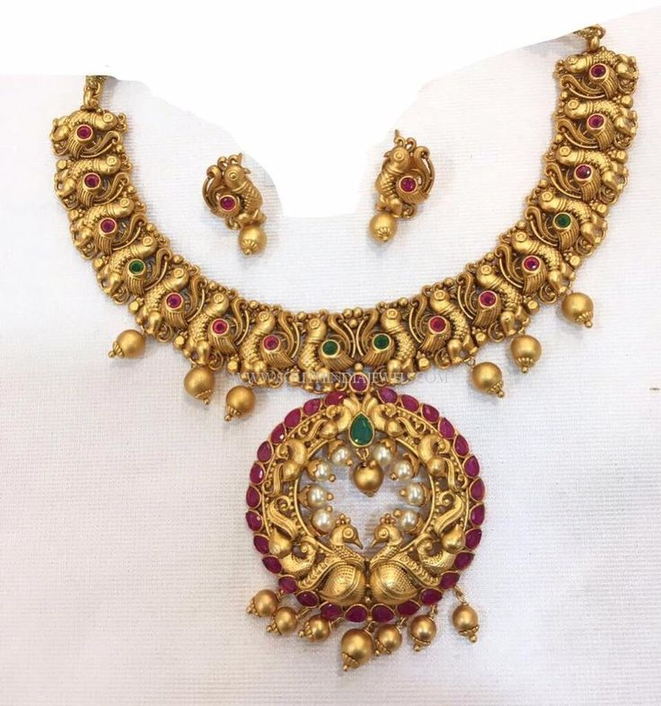 Gold Plated Antique Peacock Necklace Set Peacock