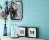 Tapet InTrade kollektion Fleurique blommig turkos blank mönster fjäril bord