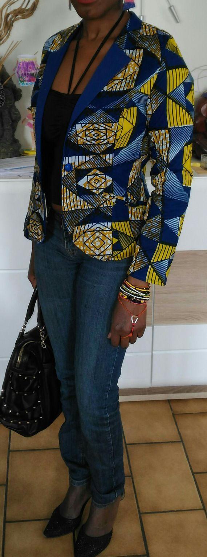 veste blazer en wax taille 34/36 avec doublure bleue