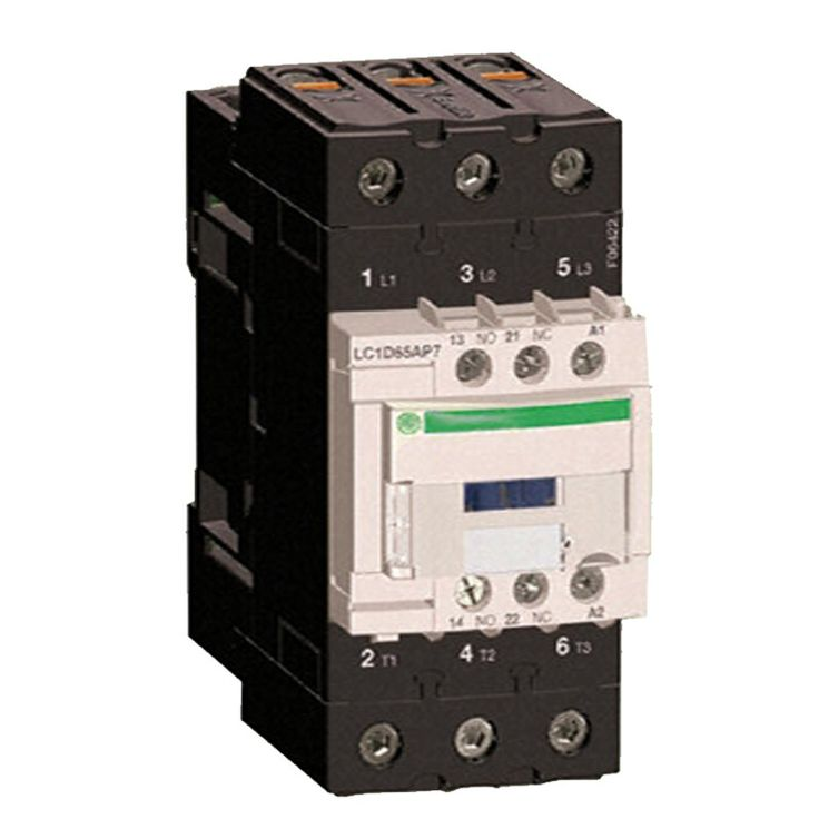 Schneider Telemecanique LC1-D65AM7.  LC1D65AM7 Schneider Electric 65 AMP, 3 pole contactor with a 220v50/60Hz AC rated coil - Rated for 20 HP @ 230 volt, 40 H.P. @ 460 volt 3 Phase - Comes with 1 N.O. and 1 N.C. based mounted auxiliary contacts and screw terminals.  Harga Per Each.  http://kliklistrik.com/contactor/412-schneider-telemecanique-lc1-d65am7.html  #schneider #contactor #alatlistrik
