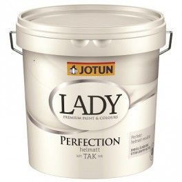 """JOTUN LADY PERFECTION – LOFTMALING GLANS 2 REFLEKSFRI HVID.  FØR: """"HED DEN LOFT 02 HVID""""  Jotun Lady Perfection er en fantastisk loftmaling i glans 2 med super dækkeevne. Lady Perfection er en totalt mat loftmaling, der er perfekt til flade lofter af fx. puds eller gips, men kan også bruges på lofter af træ eller beton. Malingen får loftet til at fremstå helt ensartet, selv på lofter med lysindfald. Jotun Perfection er nem at påføre og derfor perfekt til dig, der ønsker selv at male lofterne…"""