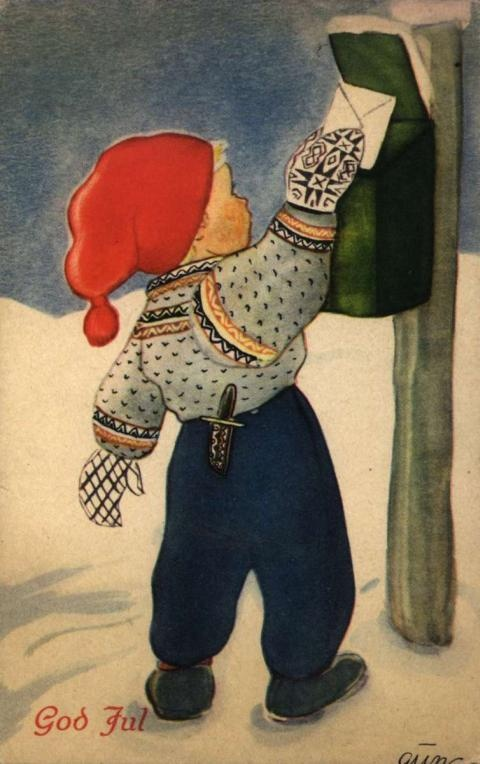 Christmas card. Stamped December 13, 1945.