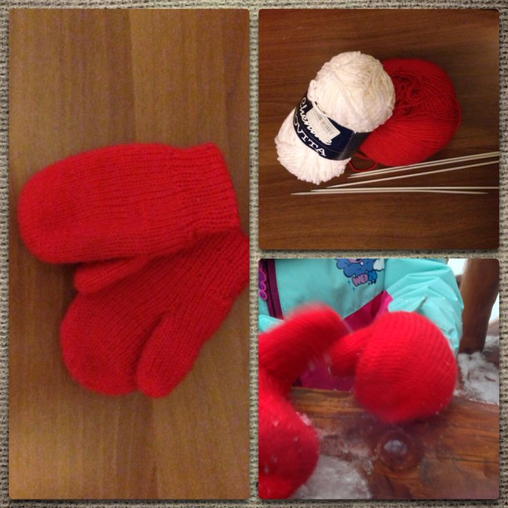Another warm knitted mittens for my daughter - soft made of Chenille  inside and wool outside!