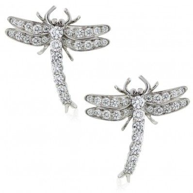 Tiffany & Co. - Platinum & Diamond Dragonfly Earrings