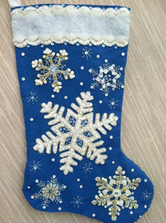 Glittering Snowflake Completed Handmade Felt Christmas Stocking from Bucilla Kit on Etsy, $70.00