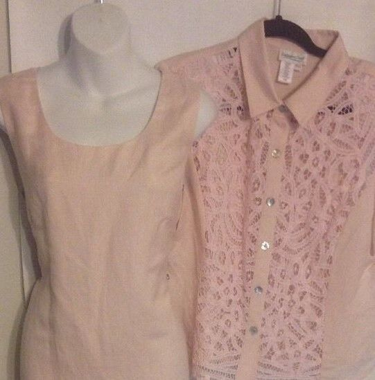 Coldwater Creek Size P14 Dress Pink Linen Blend Lined Jacket Battenberg Lace NWT #ColdwaterCreek #DressSuit #Dress #Jacket #WomensFashion
