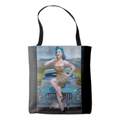 Jungle Jane Leopard Hot Rod Pin Up Car Girl Tote Bag - girl gifts special unique diy gift idea