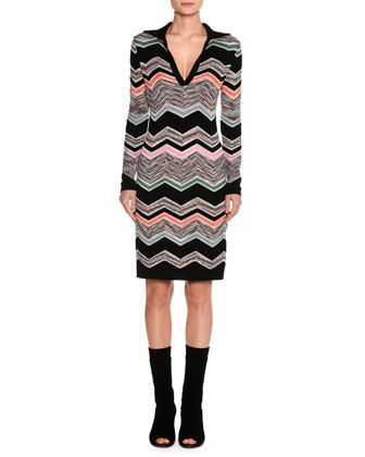 Collared+Long-Sleeve+Space-Dyed+Zigzag+Dress,+Black+by+Missoni+at+Neiman+Marcus.