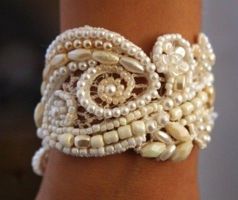 DIY Lace Cuff Tutorial, I love this, so beautiful and looks simple. Maybe ladies favours or garter?