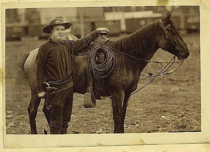 Sheriff with his horse, Arizona Territory ca 1880s.