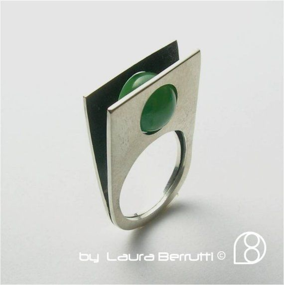 Sterling Ring with Round Jade Stone by LauraBerrutti on Etsy, $99.00