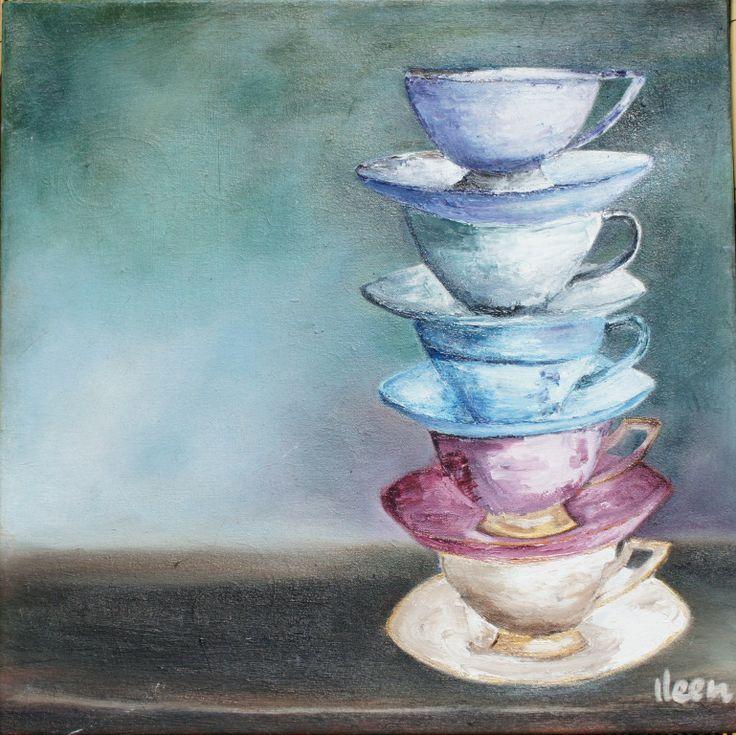 teacups - oil painting