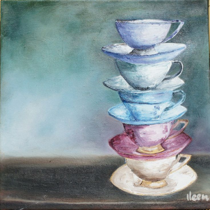 teacups - oil painting