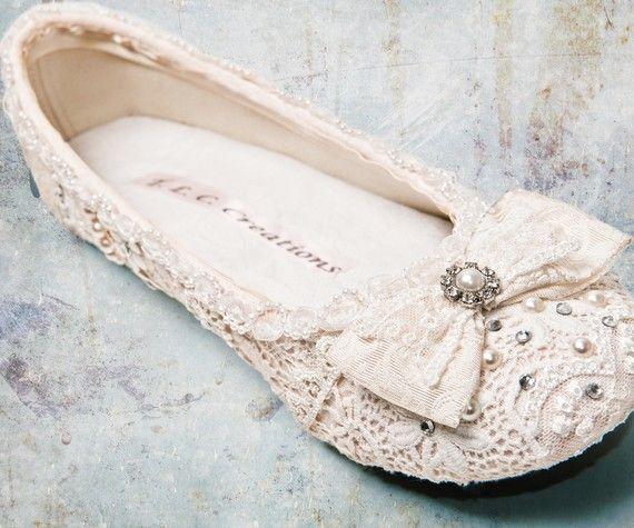 Pretty :) http://www.etsy.com/listing/61427057/sweet-wedding-ballet-flatsvintage-lace