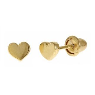 Tiny Heart Earrings for Baby/Toddler in 14K Yellow Gold with Screwbacks