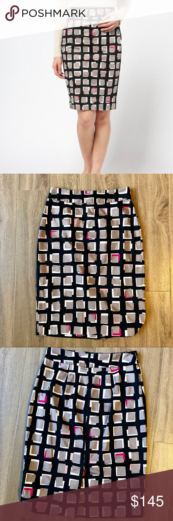 "NWT Kate Spade Abstract Sweets Pencil Skirt 0 Add a pop of color to your wardrobe in this chic tile motif pencil skirt!  NWT Abstracts Sweet Pencil Skirt Creme de la creme black Tile motif with pops of color for depth Pencil skirt Streamlined silhouette Back zip closure Unlined Black with gray tiles and splashes of pink Length: 25"" approx. 97% cotton, 3% elastane Dry clean  Smoke free, pet friendly home kate spade Skirts Pencil"