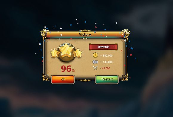 Fantasy game RPG Gui Pack by yuq229 on Creative Market