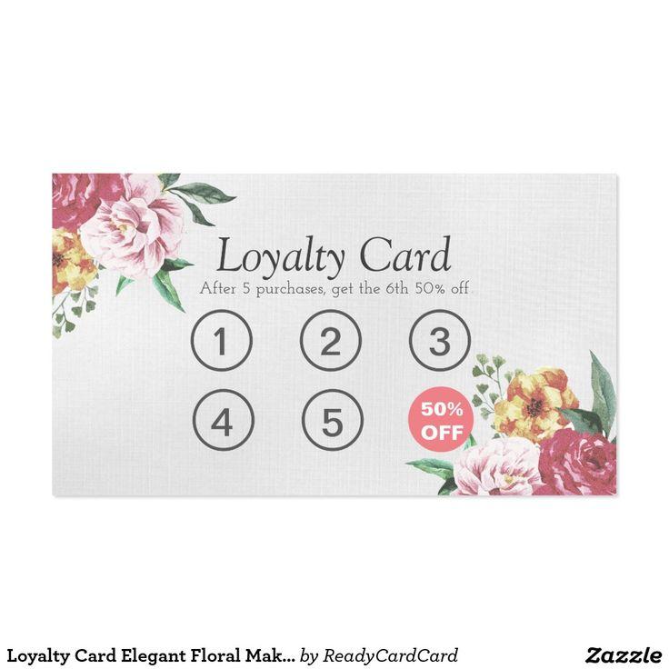 Loyalty Card Elegant Floral Makeup & Hair Stylist