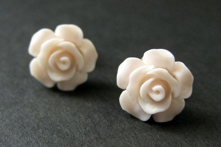 Pale Pink Flower Earrings. Pink Earrings. Gardenia Flower Earrings. Bronze Stud Earrings. Rose Earrings. Handmade Earrings. Handmade Jewelry by StumblingOnSainthood on Etsy https://www.etsy.com/listing/205347558/pale-pink-flower-earrings-pink-earrings