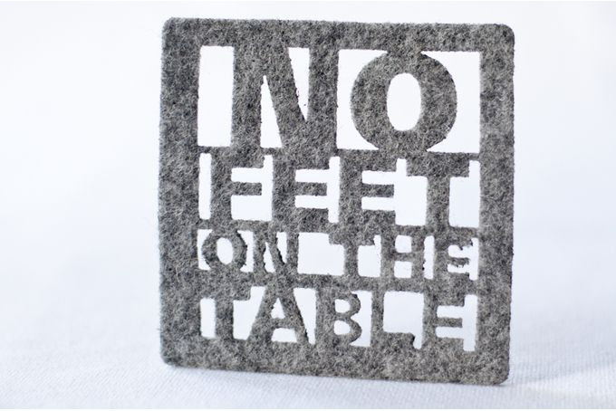 Light grey felt coasters x 4 - 'no-feet-on-the-table' by Touchee Feelee for sale on hellopretty.co.za - R160 / $15.00