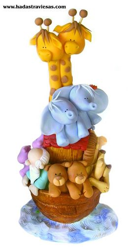 Noah's Ark cake topper  or  could be polymer figurine