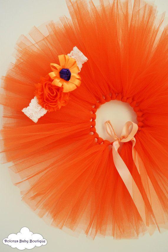 Baby Orange Tutu Baby Orange Headband Baby by DoloresBabyBoutique
