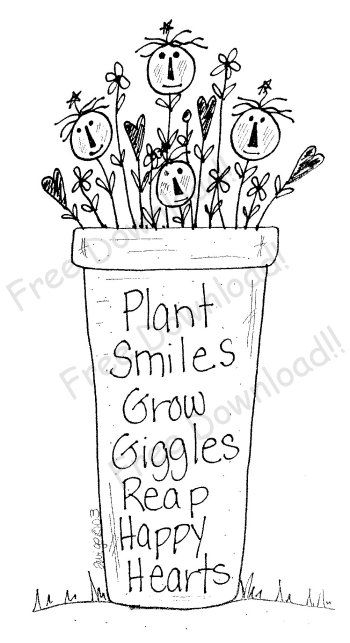 Plant Smiles, Grow Giggles Free Pattern #embroidery