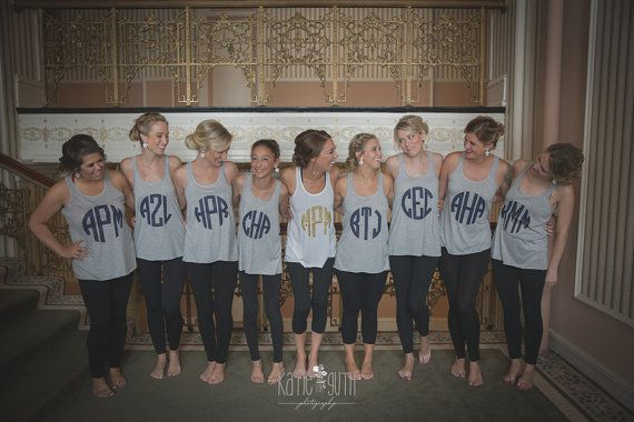 9 Monogrammed Bridesmaid Shirts, Bachelorette Party Tank Tops, Bridal Party Shirts, Getting Ready Shirts (mg001)