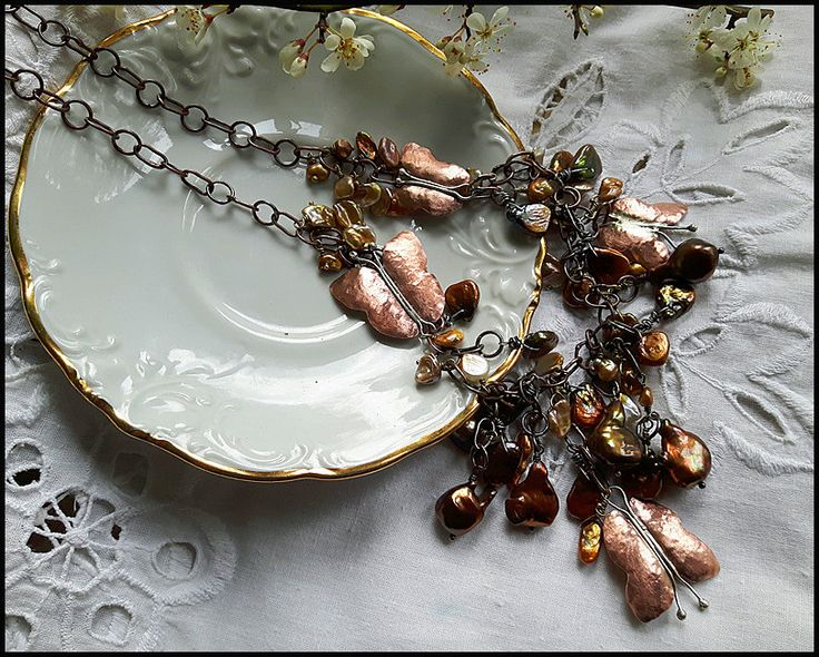 Pearls and Butterflies Necklace, womens jewelry, handmade, boho, romantic, antiqued copper, cultured biwa pearls, bohemian, romantic by TheWoodlandNostalgia on Etsy