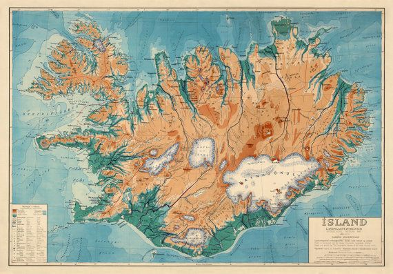 Old map of Iceland   Decorative vintage map  by AncientShades