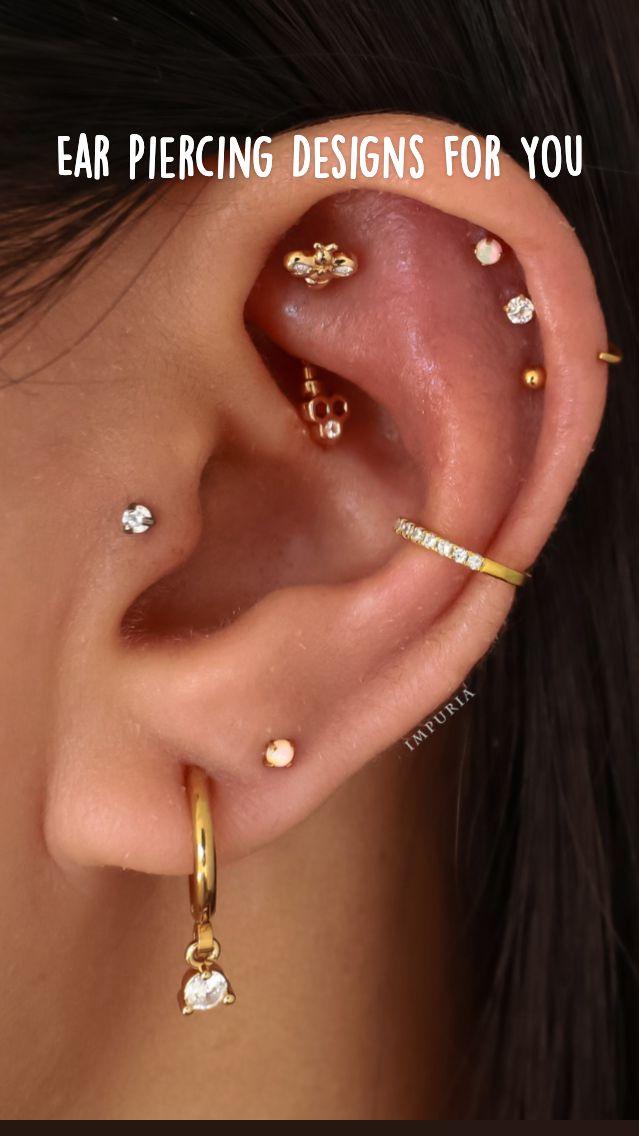 Full Ear Piercings, Cartilage Piercing Stud, Ear Piercings Chart, Cartilage Earrings, Helix Piercings, Cute Earrings, Gold Earrings, Rook Earring, Ear Jewelry