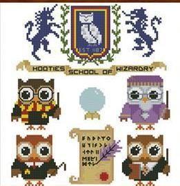 Hooties School Of Wizardry cross stitch chart Pinoy Stitch $7.20  #owl  #Harry Potter