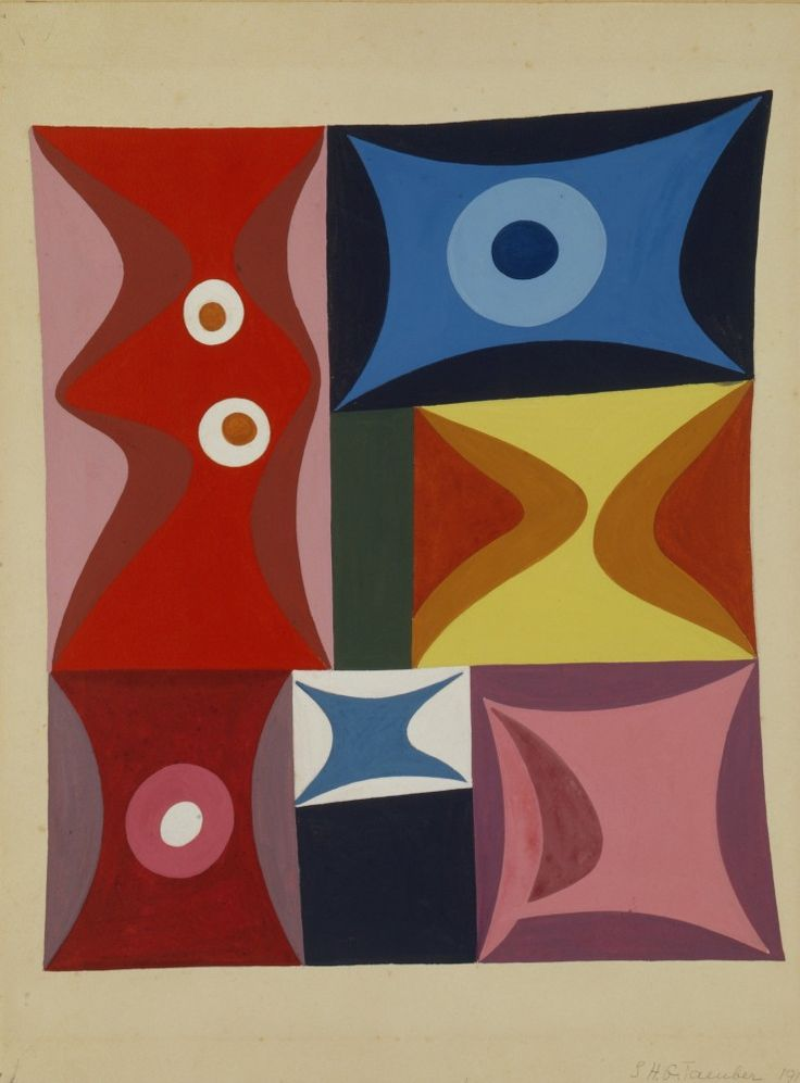 Sophie Taeuber-Arp, Elementary Forms in a Vertical-Horizontal Composition (Formes élémentaires en composition verticale-horizontale), 1917, gouache, 117⁄16 x 97⁄16 in. (29 x 24 cm). Stiftung Hans Arp und Sophie Taeuber-Arp e.V., Rolandswerth, inv. 003.550 (artwork in the public domain; photograph provided by Stiftung Hans Arp und Sophie Taeuber-Arp)
