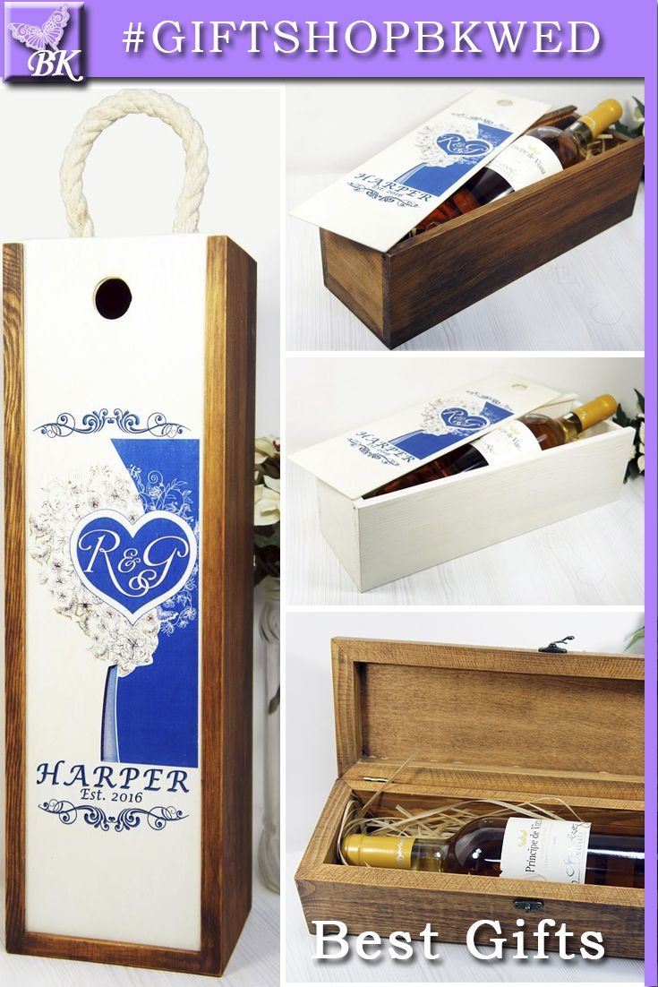 """Personal wine box is like a love letter. Excellent choice for a traditional ceremony Wine Box is also a """"time capsule"""" You will be able to open it on the anniversary of your wedding or other important event #giftshopbkwed #wedding #wine #box #ceremony #personalized #gift #rustic #Bride #Groom #His #Her #mr #mrs #anniversary #custom #monogram #diy #shabbychic #favor #love #tree #decor #shabby #chic #ideas #nature #winebox  #birthday #wood #wooden #capsule #time #fightbox #winecapsule…"""