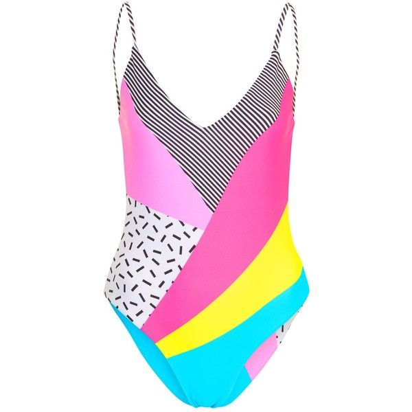 Topshop '80s Patchwork Swimsuit ($39) ❤ liked on Polyvore featuring swimwear, one-piece swimsuits, swimsuits, swimsuit swimwear, beach bathing suits, beach swimwear, swim costume and swimming costumes