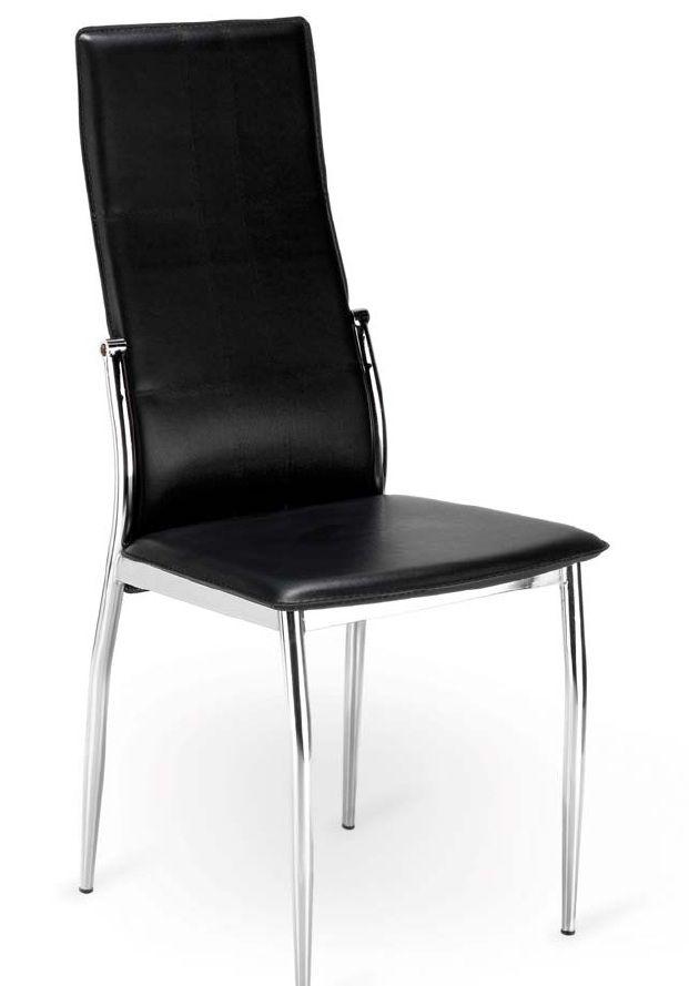 Silla Sei: Silla extructura metálica con recubrimiento cromado Tapizado en pvc lavable. Colores disponibles negro y blanco . Patas con conteras de plástico antirrayado.