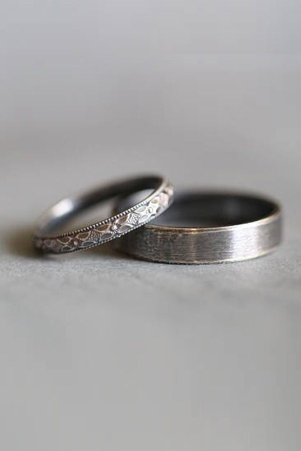 Wedding Rings Set Wedding Bands Sterling Silver Wedding Rings His And Hers Wedding Rings Rustic We Silver Wedding Bands Boho Wedding Ring Wedding Ring Sets