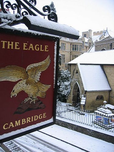 The Eagle, Bene't Street, Cambridge, with St Bene't's Church, opposite, and Free School Lane, behind.