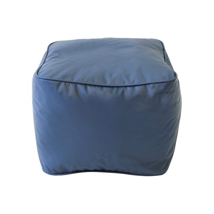 Square Ottoman Blue Gold Medal Bean Bag Ottoman Small